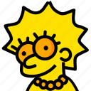 head, lisa, movie, simpsons, yellow icon