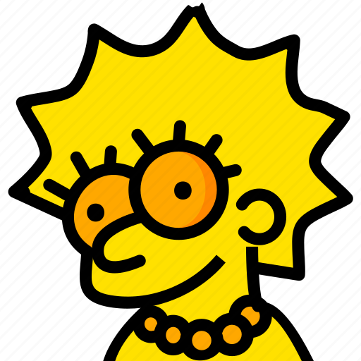 head, lisa, movie, simpsons, yellow icon