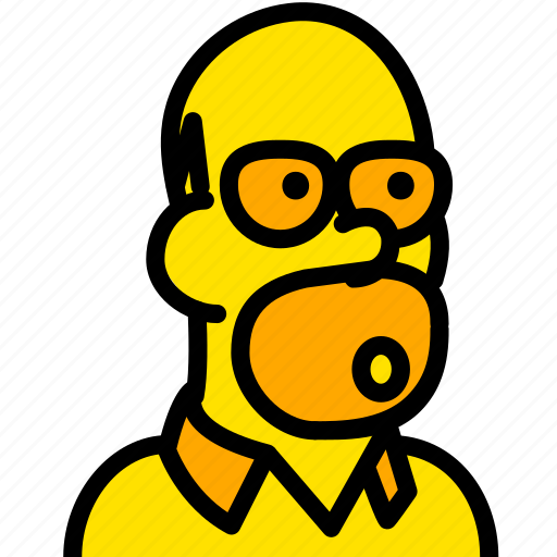 head, hommer, movie, simpsons, yellow icon