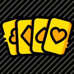 cards, casino, movie, royale, yellow icon
