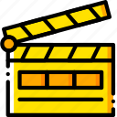 action, film, movie, start, yellow icon