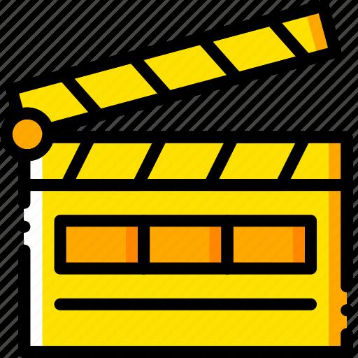action, film, movie, start, yellow icon