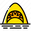 jaws, movie, scary, shark, yellow icon