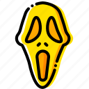 head, mask, movie, scream, yellow icon