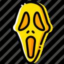 movie, head, mask, scream, yellow icon