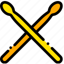 drum, music, play, sticks, yellow icon