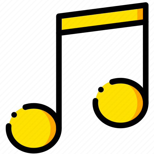 music, musical, note, play, yellow icon
