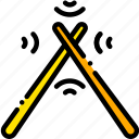 drum, music, play, sound, sticks, yellow icon