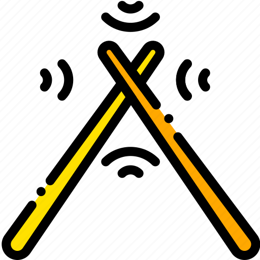 drum, music, play, sound, sticks, yellow icon