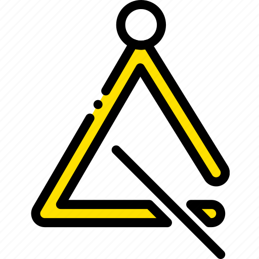 music, play, triangle, yellow icon