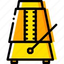 metronome, music, play, sound, yellow icon