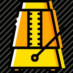 metronome, music, play, sound, yellow icon