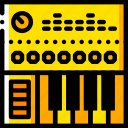controller, digital, looping, music, play, yellow icon