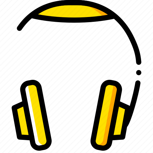 headphones, music, play, sound, yellow icon