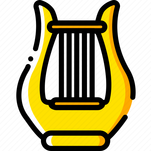 harp, music, play, sound, yellow icon