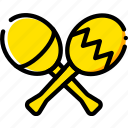 maracas, music, play, sound, yellow icon