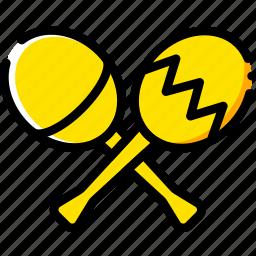 maracas, music, play, sound, yellow icon
