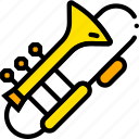 music, play, trombone, yellow icon