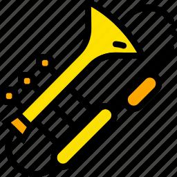 music, play, trombone, yellow icon