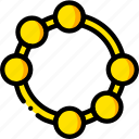 music, play, tambourine, yellow icon