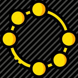 music, play, tambourine, yellow icon