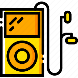 ipod, music, play, sound, yellow icon