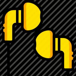 headphones, ipod, music, play, yellow icon