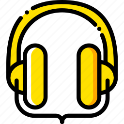headphones, music, play, studio, yellow icon