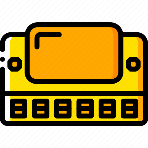 harmonica, music, play, yellow icon