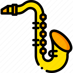 music, play, saxophone, sound, yellow icon