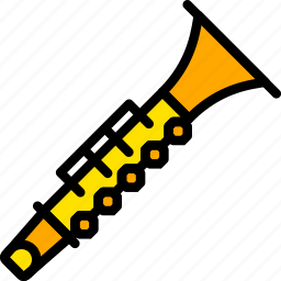 clarinet, music, play, sound, yellow icon