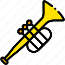 music, play, trumpet, yellow icon