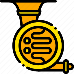 french, horn, music, play, yellow icon