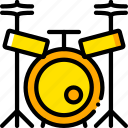 drum, music, play, set, yellow icon