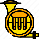 music, play, sound, tuba, yellow icon