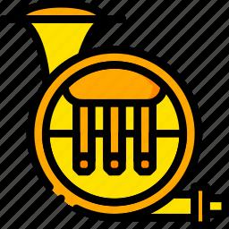 music, play, sound, tuba, yellow icon