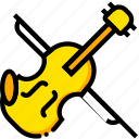 music, play, sound, violin, yellow icon