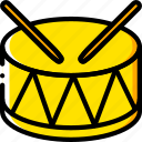 circus, drum, music, play, sound, yellow icon