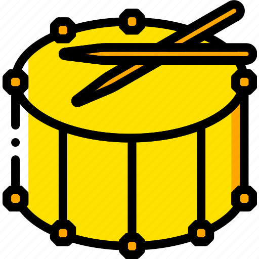 drum, fanfare, music, play, yellow icon