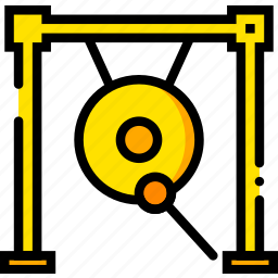 gong, music, play, sound, yellow icon