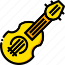 balalaika, music, play, yellow icon