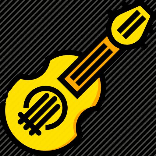 balalaika, music, play, yellow icon