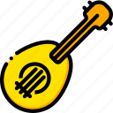 music, play, ukulele, yellow icon