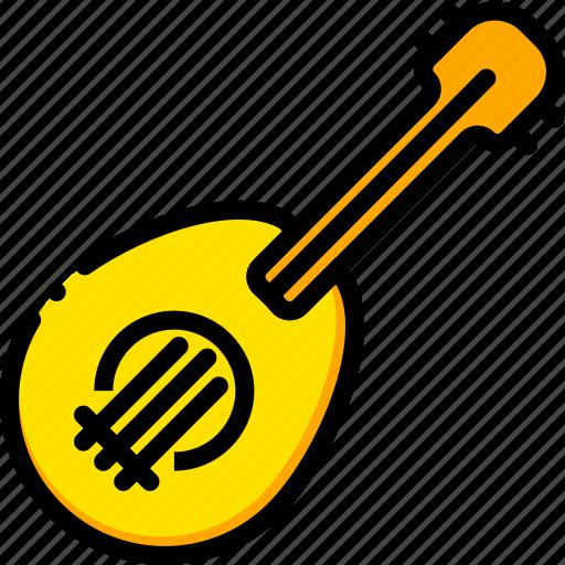 music, play, ukulele, yellow icon