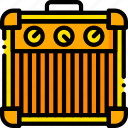 amplifier, guitar, music, play, sound, yellow icon