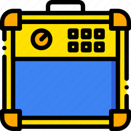 amplifier, guitar, music, play, yellow icon