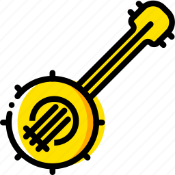 banjo, music, play, yellow icon