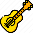 bass, guitar, music, play, yellow icon