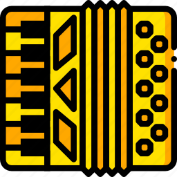 accordion, music, play, sound, yellow icon