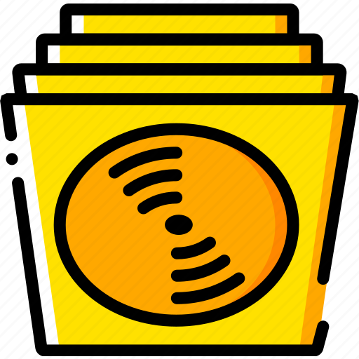 music, play, records, sound, yellow icon